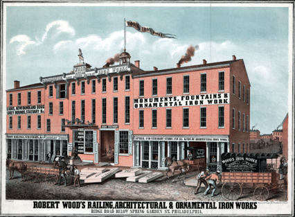 Project: Fountain. Fountain Manufacturer: Robert Woods Railing, Architectural & Ornamental Iron Works, Ridge Road below Spring Garden St. Philadelphia. MSP fountain purchased May 21, 1889. Photo: A postcard