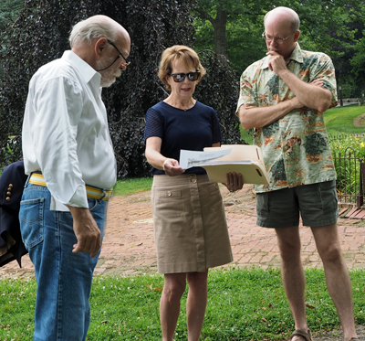 Fountain Committee Members Gordon Woodrow, Anne Walters and  Jeff Beitel discuss renovation plans.
