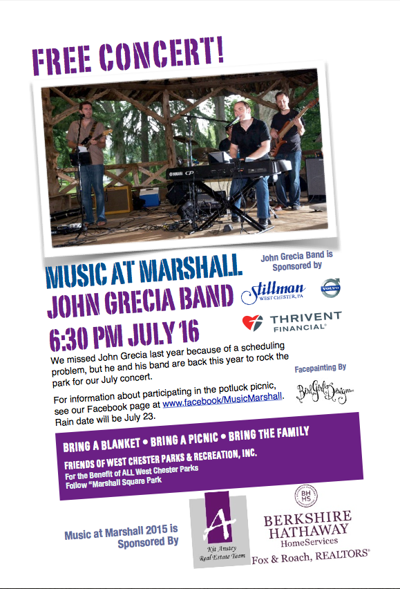 Music At Marshall's 2015 Season. July 16 is the second of three concert/picnics.