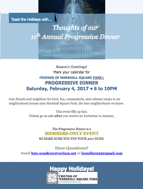 Save the Date 2017 Progressive Dinner